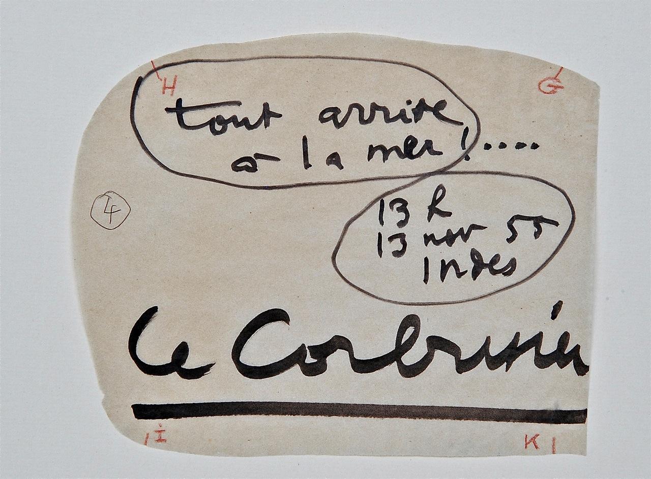 La frase de su puño y letra, que Corbu quería destacar
