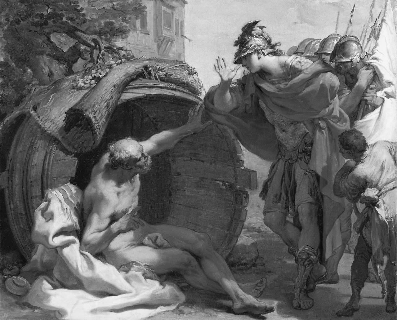 Alejandro Magno le tapa el sol a Diógenes por Gaetano Gandolfi -1792