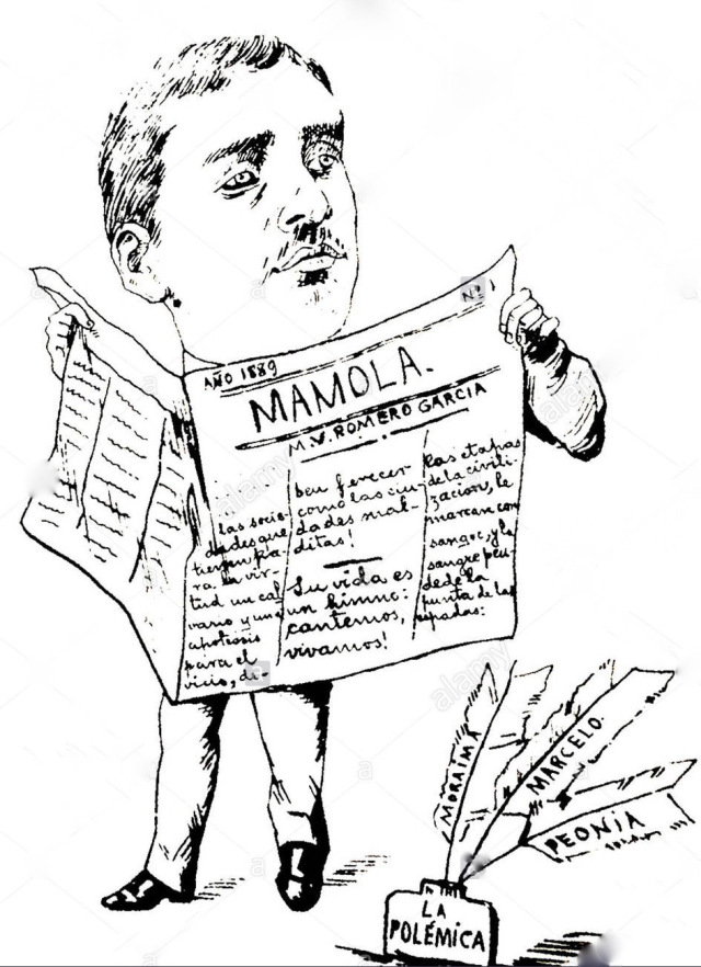 Caricatura de Manuel Vicente Romerogarcía. La Mamola era un diario donde colaboraba.