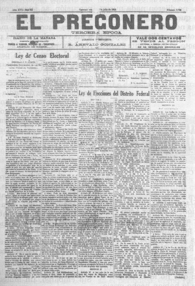 El Pregonero. Primera Página de la edición que lo sacó de circulación el 11 de Julio de 1913.