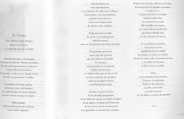 Poema completo de Andrés Eloy Blanco, foto de una página doble de la Biografía de Mariela Arvelo
