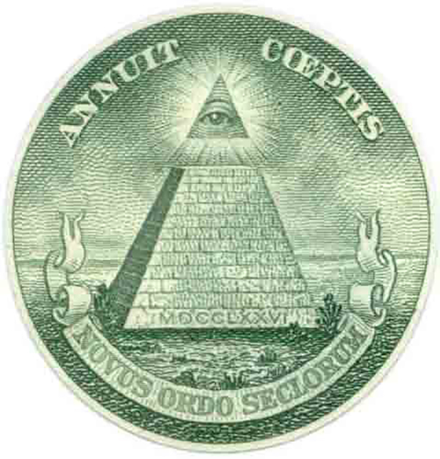 Símbolo masónico en el billete de un dólar estadounidense. El ojo de Dios, Gran Arquitecto del Universo.