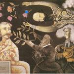 Alegoría de la Delpiniada , cuadro de Pedro León Zapata. A la derecha arriba Guzmán Blanco. En su trono de homenaje el poeta Delpino y Lamas.